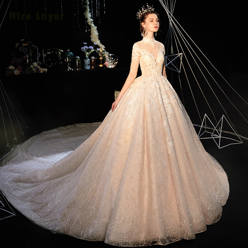 Image 2 - Robe De Mariee Princesse De Luxe 2020 High Neck Full Sleeve Beading Pearls Appliques Lace Luxury Ball Gown Wedding DressesWedding Dresses   -
