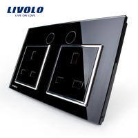Livolo UK Standard Wall Power Socket VL C7C2UK 12 Black Crystal Glass Panel Manufacturer Of 13A