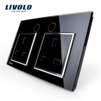 Livolo UK Standard Wall Power Socket VL C7C2UK 12 Black Crystal Glass Panel Manufacturer Of 13A