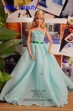 Hazy beauty Autonomous design handmade green dress Doll Accessories Evening Wedding Dress Clothes For Barbie Doll