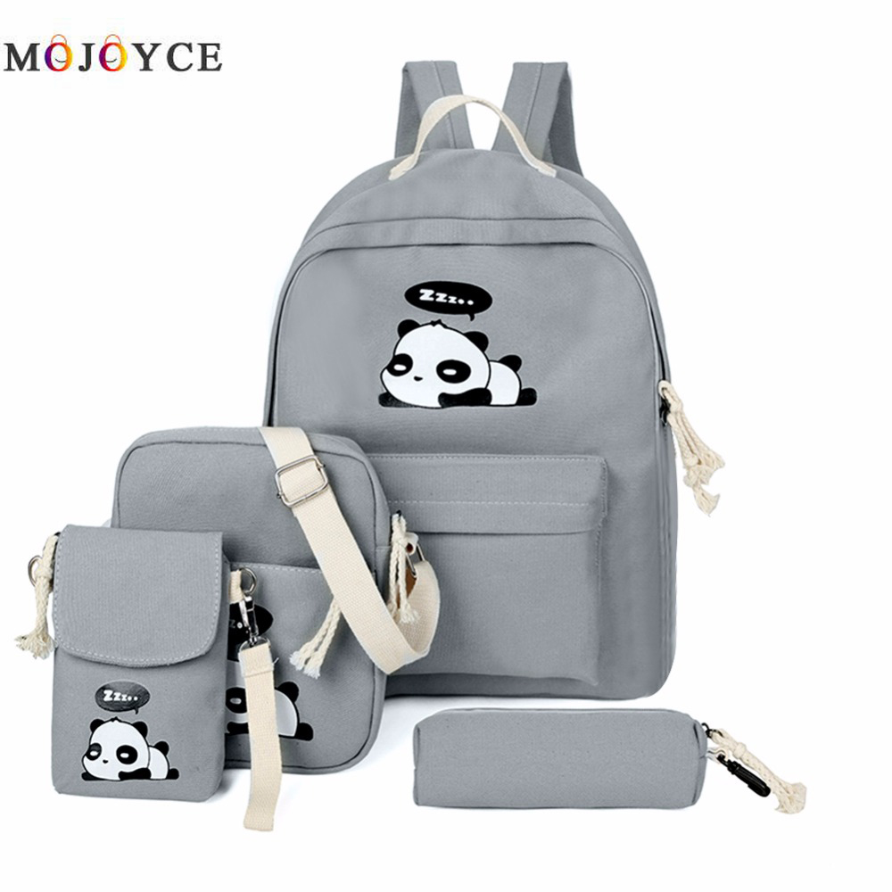 4pcs/Set Canvas Women Backpack Girls Cute Panda Print Student School Backpack Shoulder Teenagers Book Bagpack Mochila Feminina худи print bar panda santa