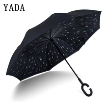 YADA New Folding Popular Rain Reverse Umbrella For Women Double Layer Inverted Umbrellas Rainproof Protection Car YD091