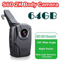 Free shipping!2K HD S60 Body Personal Security &Police Camera Night Vision 6-hour Record 64GB Ambarella A7LA50