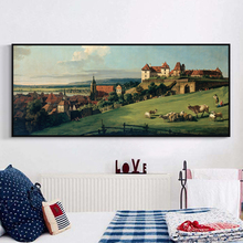 Bianche Wall Retro Shepherd and Village Landscape Banner Canvas Painting Art Print Poster Bedroom Home Decoration