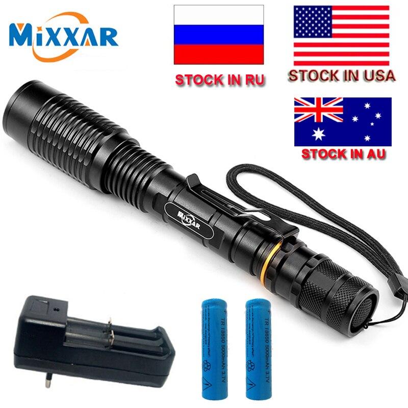 Czk20 8000LM T6 Zoomable LED della Torcia Elettrica 5-Mode ha condotto la Torcia luce adatta 2x5000 mah batterie Telescopica Lanterna lampada