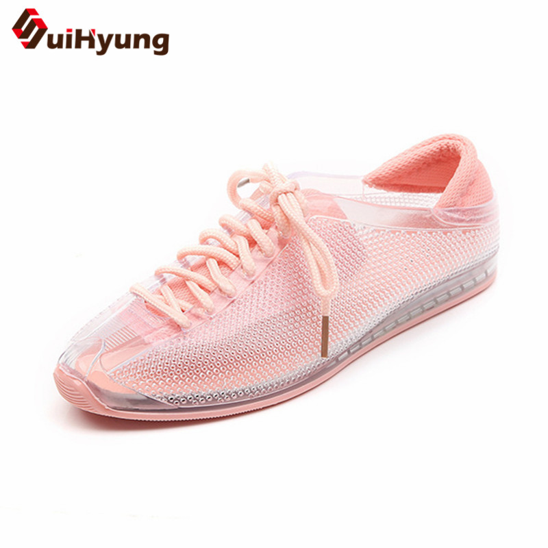 Suihyung Women Flats 2018 New Summer Breathable Mesh Flat Shoes Sneakers Hollow Transparent Jelly Shoes Woman Fisherman Shoes instantarts women flats emoji face smile pattern summer air mesh beach flat shoes for youth girls mujer casual light sneakers