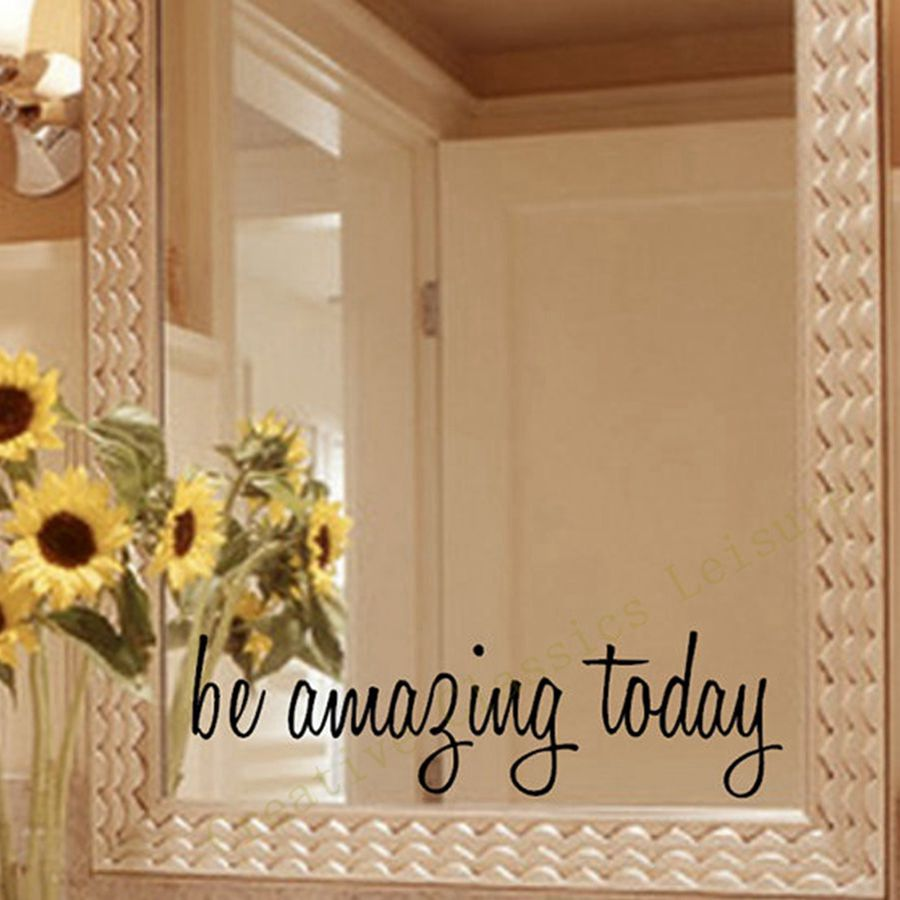 Spedizione gratuita Inspirational Mirror Decal, Motivational Wall Sticker On Mirror per la decorazione del bagno di casa