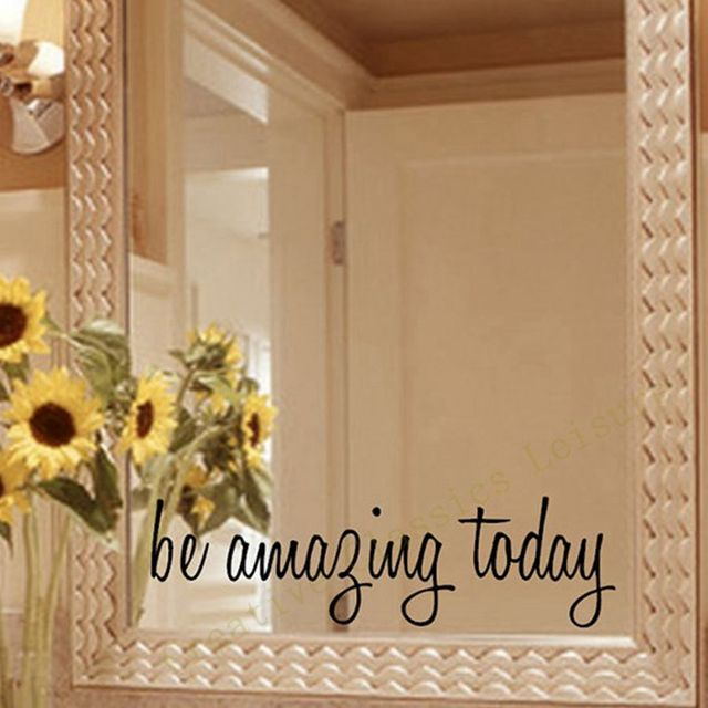... Free Shipping Inspirational Mirror Decal Motivational Wall Sticker On  Mirror For Home Bathroom Decor