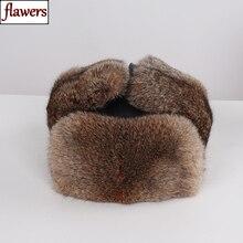 Новое поступление, унисекс, натуральный мех кролика, шапки-бомберы, зимняя мужская теплая меховая шапка из натурального кролика, русская мужская шапка, натуральная меховая шапка