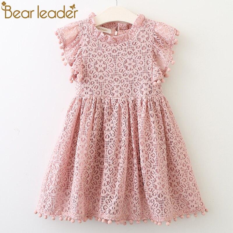 Bärenführer Mädchen Kleid 2018 Neue Sommer Marke Mädchen Kleidung Spitze und Ball Design Baby Mädchen Kleid Für 3-7 Jahre