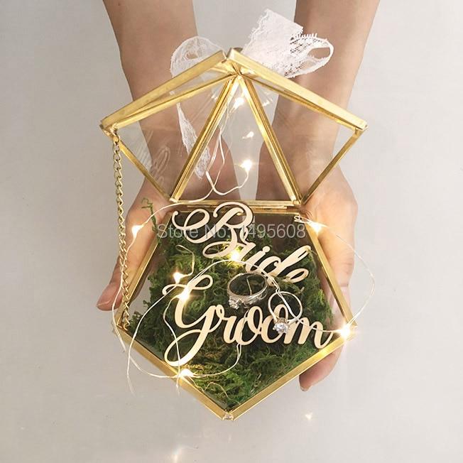 Vitrail boîte de fiançailles bijoux | Porte-anneau de mariage, porte-bijoux plat géométrique boîte, amour Be special Sand mariage