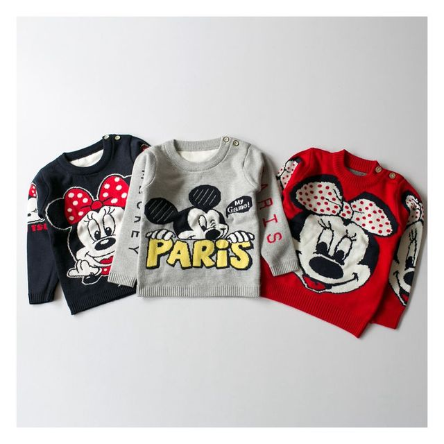 Hot New Baby Clothing Boys Girls Jumper Autumn Winter Cartoon Sweater Cute Mouse Children Kids Knitted Pullover Warm Outerwear