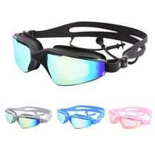 Adult Swimming glasses Large frame earplug Professional Anti-Fog Men Women Pool Water Swim Eyewear Silicone goggles