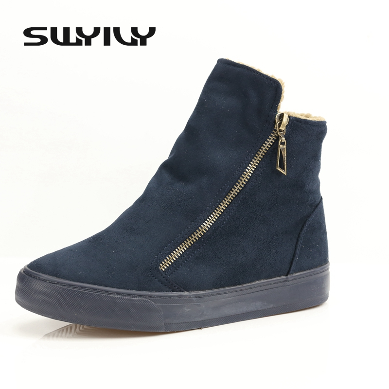 Women Boots Ankle High Top Snow Boots Canvas Denim Snow Boots Shoes Winter Female Sneakers Flat For Velet Fur 40 Big Size