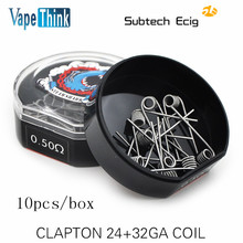 Original 20pcs/lot  CLAPTON COIL 0.5ohm Pre-build Heating Wire HEATING WIRE FOR RBA/RDA/RTA tank DIY vaporizer vape