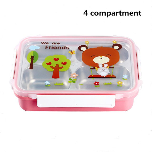 Pink 4 compartments Cheap bento boxes 5c6479e2ee0b4