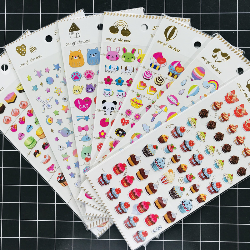 1 Pack Kawaii Hot Stamping Cat Dog Cakes Star Fire Balloon Stickers Hand Account Decor Sticker Stationery Kids Gift