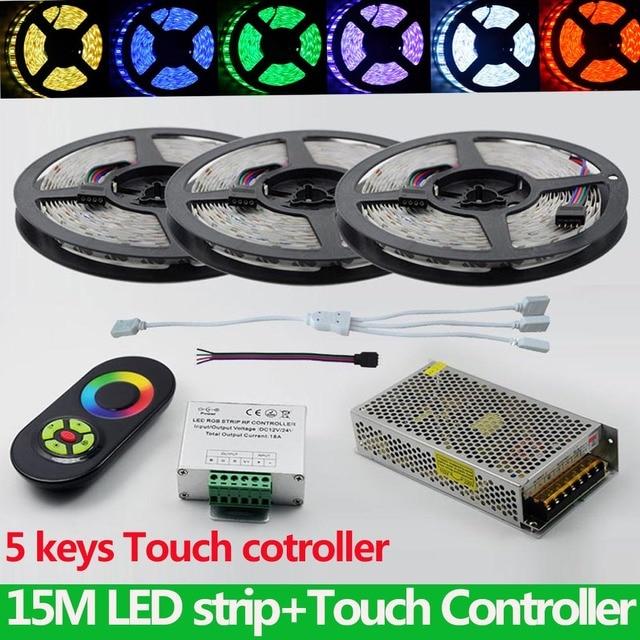 full kit 15 meters flexible rgb led strip 5050 900leds christmas light tape18a touch