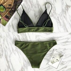 Image 5 - CUPSHE צבא ירוק מוצק ביקיני סט נשים משולש סקסי שתי חתיכות בגדי ים 2020 רגיל ילדה חוף בגד ים בגדי ים