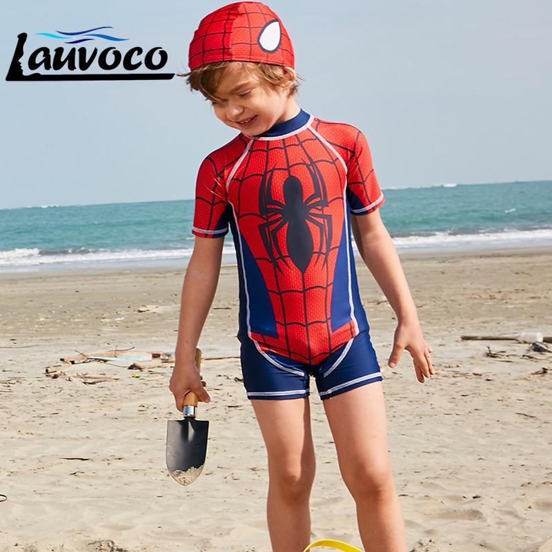 Spiderman Printed Cute Kids Swimwear One Piece Boys Swimsuit Sport Bathing Suit with Hat Short Sleeve