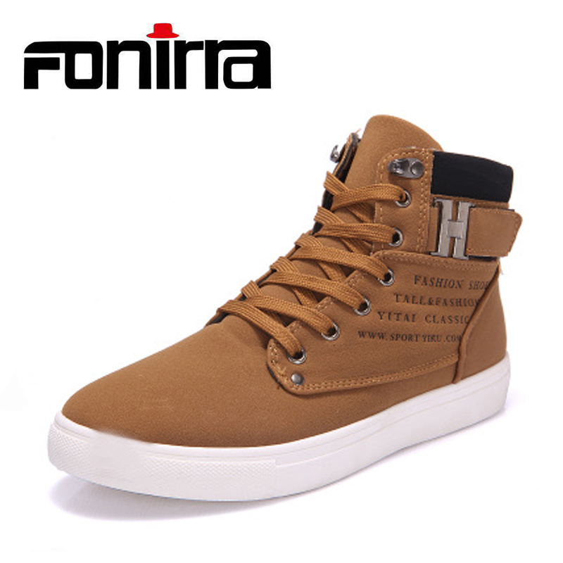 FONIRRA New 2017 Retro Style Men's Casual Shoes Spring Autumn Vintage Low Boots Lace Up High Top Men Shoes Size 38-47 180