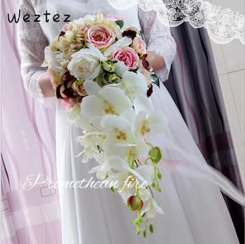 Sztuczne bukiety ślubne wodospad bukiety ślubne kwiaty różowy biały ślub kwiaty akcesoria ślubne PH39 tanie i dobre opinie NYLON 46cm 22cm 0 45kg Bukiet ślubny bridal bouquet wedding bouquet