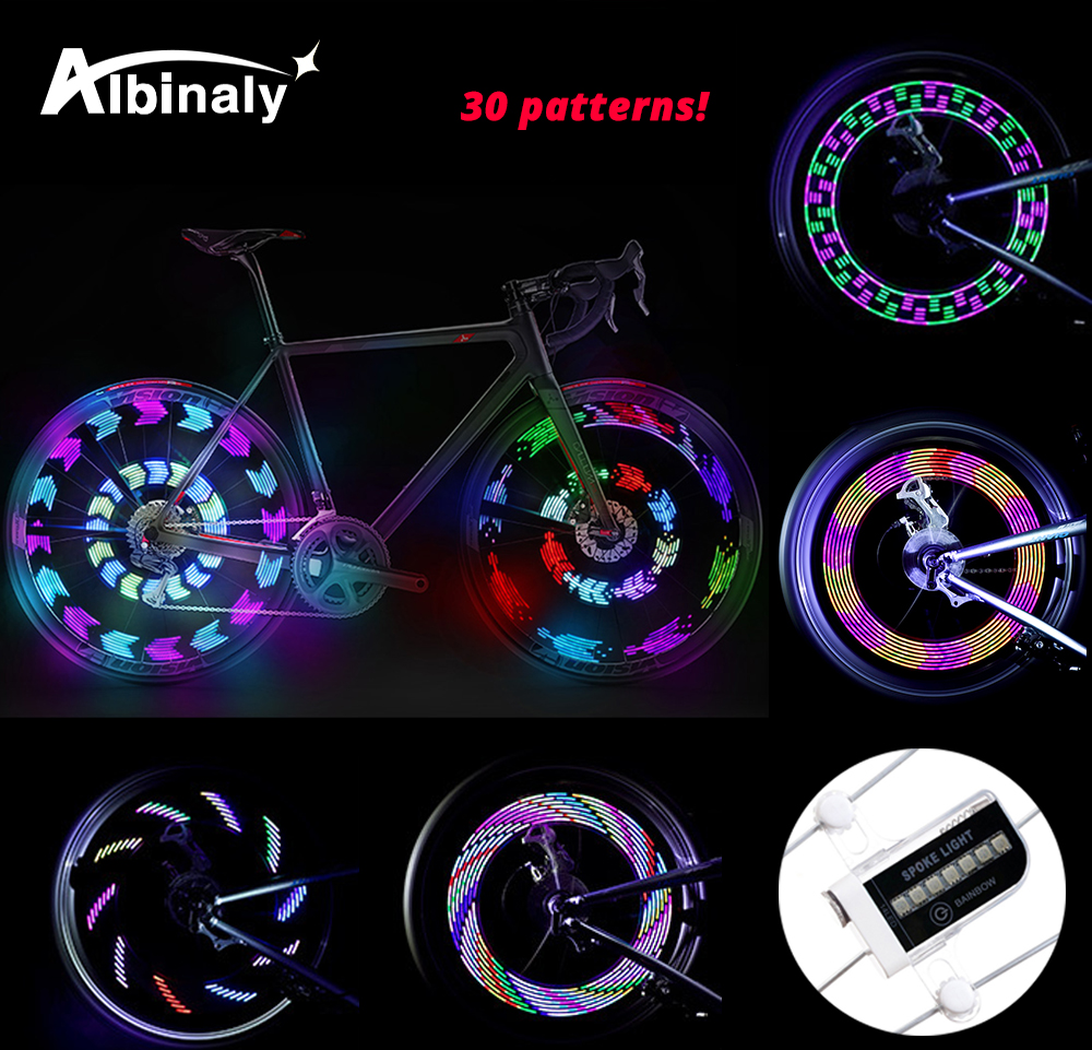 Riding 14LED Bicycle Light 30 Picture Hot Wheels Warning Light Waterproof Decorative Spoke Lights Mountain Bike Accessories