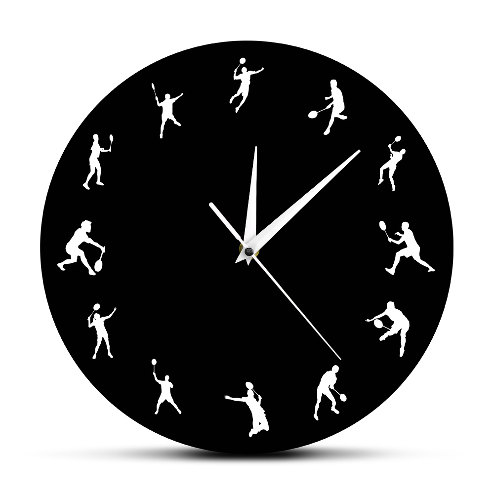 Badminton Time 12 Badminton Players Sillouette Wall Clock Birdie Deorative Clock Watch Sports Room Decor Funny Badminton Gifts