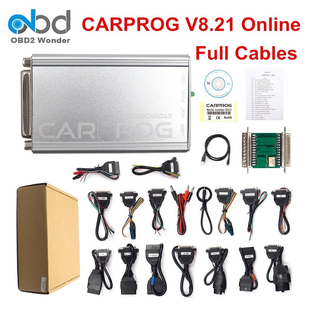 Nouveau Carprog V8.21 Version en ligne outil de réparation automatique ensemble complet voiture prog Firmware 8.21 ECU puce outil de réglage mieux que Carprog 10.93