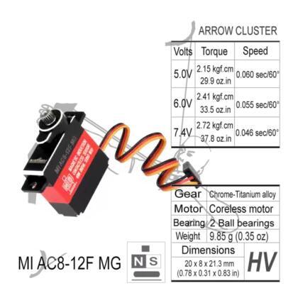 1PC Metal BLUEARROW MI AC8-12F MG Servo Magnetic Sensing  Tooth Steering Gear Rudder for RC Aircraft DIY Parts