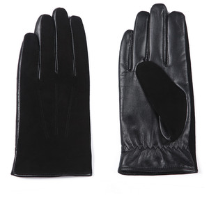 Image 3 - Gours New Winter Long Genuine Leather Gloves Men Suede Black Warm Touch Screen Gloves Brand Goatskin Mittens Luvas GSM023