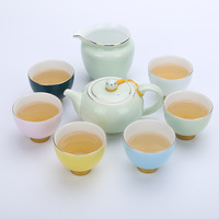 Factory direct sales 8 pcs rainbow love Kung Fu tea set inlaid gold ceramic cup cup elegant cup