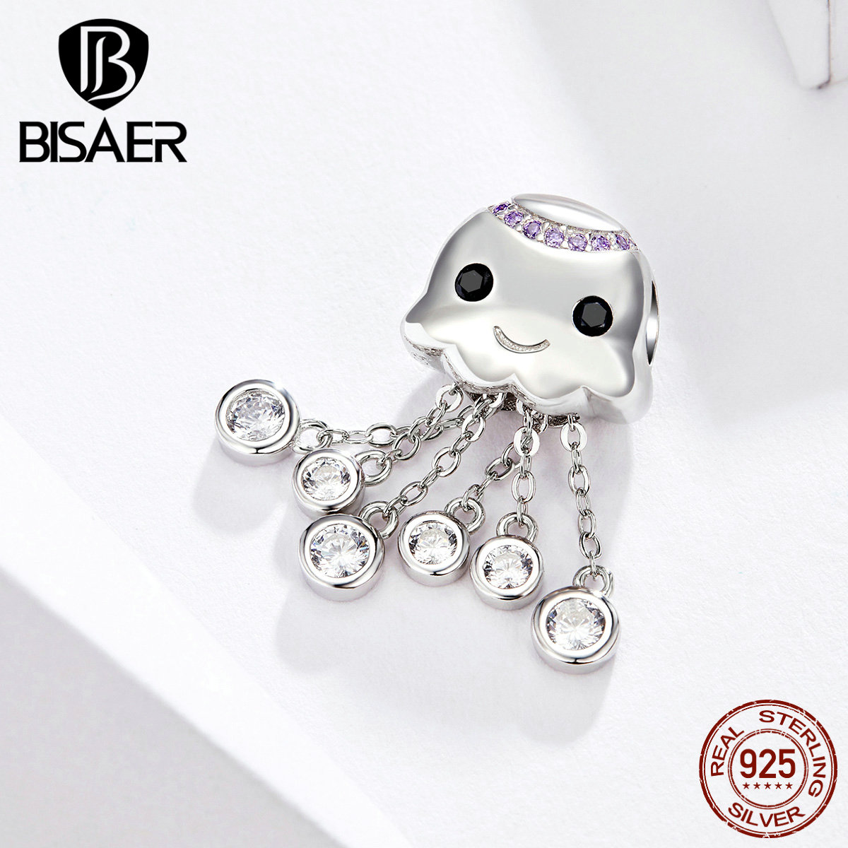 BISAER Octopus Charms 925 Sterling Silver Hyperbole Ocean Octopus Pendant Beads Fit Beads Bracelets Silver Jewelry EFC081