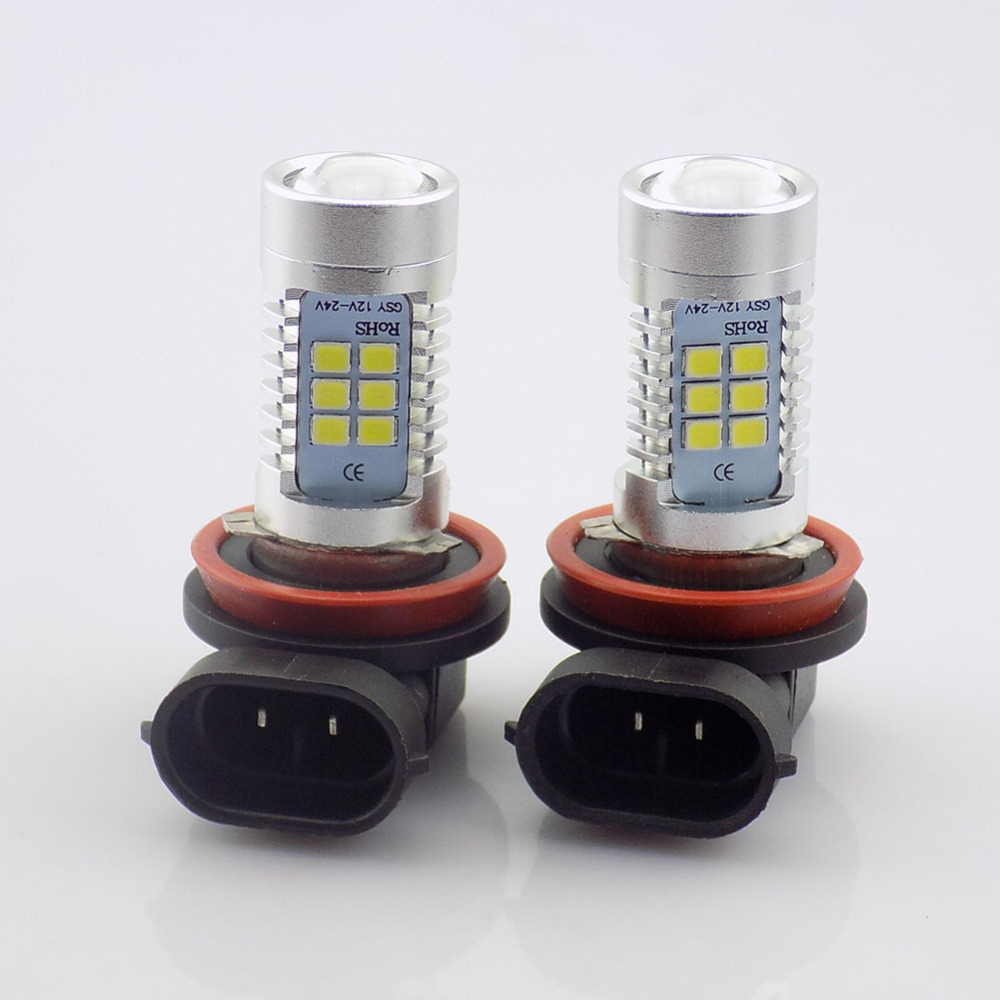 QvvCev 2pcs New LED Car LED Light Fog Lamps High Power Car-styling 2835 21SMD H8 H11 Auto Foglight DRL Headlight Lamp Bulb DC12V qvvcev 2pcs new car led fog lamps 60w 9005 hb3 auto foglight drl headlight daytime running light lamp bulb pure white dc12v