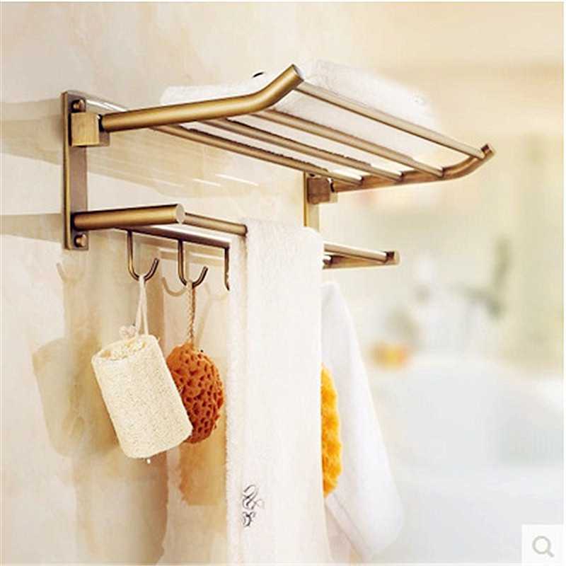 European Antique Bathroom Towel Rack Brass Finished Towel Rail/ Towel Bar Shelf Bathroom Accessories 5 Hooks Wall Mounted Ua29 aluminum wall mounted square antique brass bath towel rack active bathroom towel holder double towel shelf bathroom accessories