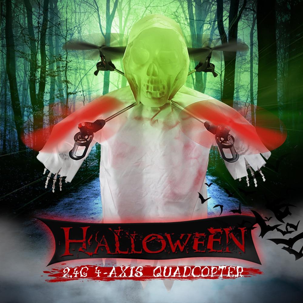 ФОТО 1031 halloween horrible creepy toothy flying ghost head skull rc drone 2.4g 4ch 6-axis gyro headless mode rc quadcopter