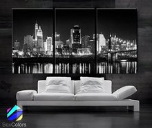 Canvas retro city night bridge 3 modern style picture decoration wall landscape painting art printing framed