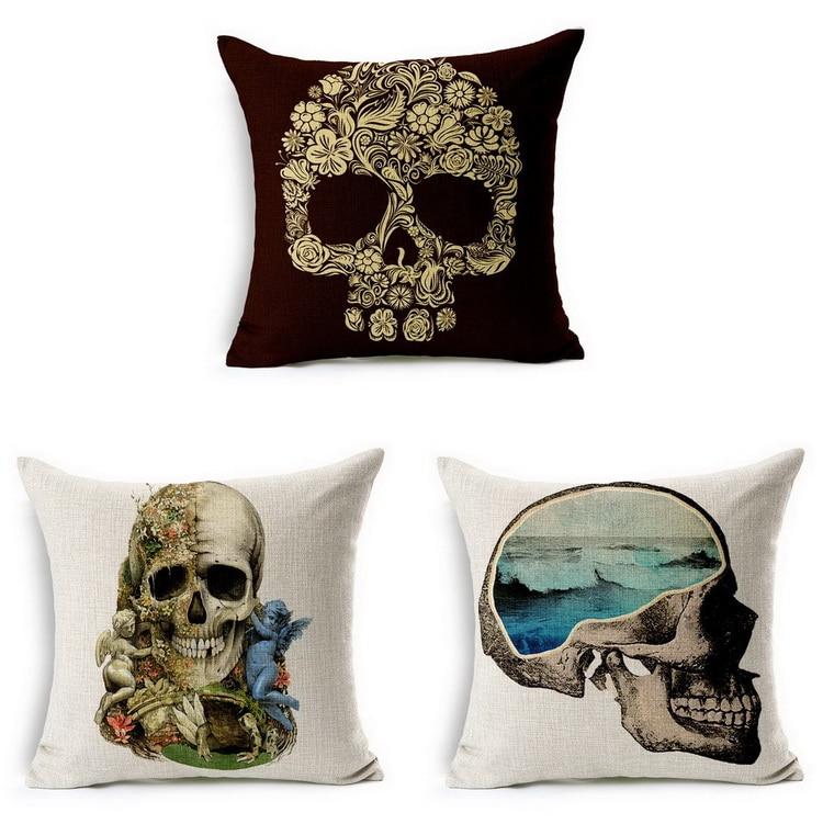 almohada cojn para unid tx super cool skull moda patrn con asientos ngel flor artificial