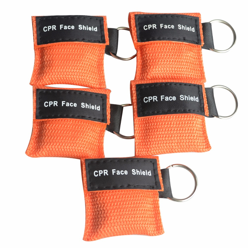 500Pcs/Pack Mini CPR Resuscitator Mask Keychain Key Ring CPR Face Shield With One-way Valve Orange Nylon Bag Anti Proof