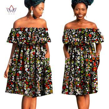 2019 أفريقيا نمط الملابس زائد الحجم المرأة مثير مائل العنق اللباس أفريقيا بازان الثراء النسيج الشمع طباعة لطيف فساتين ميدي WY790 1