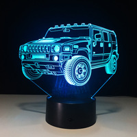 Cool SUV Car 3D Night Light 7 Color LED Table Lamp Touch Switch USB New Lamp