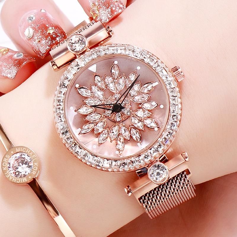 2019 Rotate Gold Crystal Luxury Women Watches Stainless Steel Bracelet Diamond Ladies Watch quartz female clock