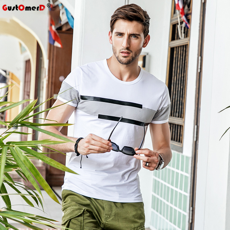 GustOmerD New Summer Casual   T     shirt   Short Sleeve   T  -  shirt   Men Fashion O-neck Patchwork Gray Print   T     shirt   Fashion Men Tee   Shirt