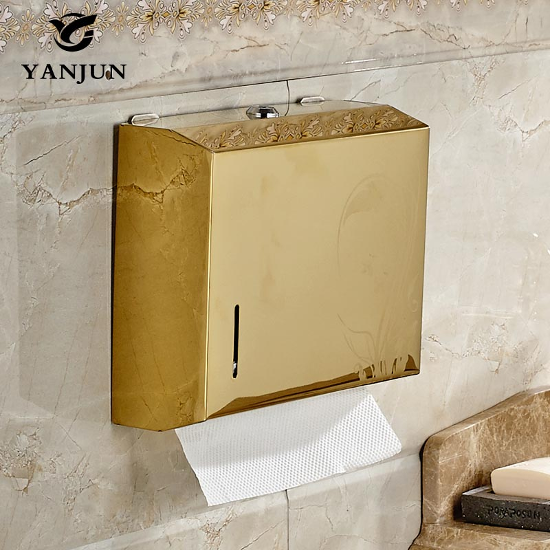 Yanjun wall mounted stainless steel toilet paper holder wc paper towel holder tissue dispenser for Home bathroom paper towel dispenser