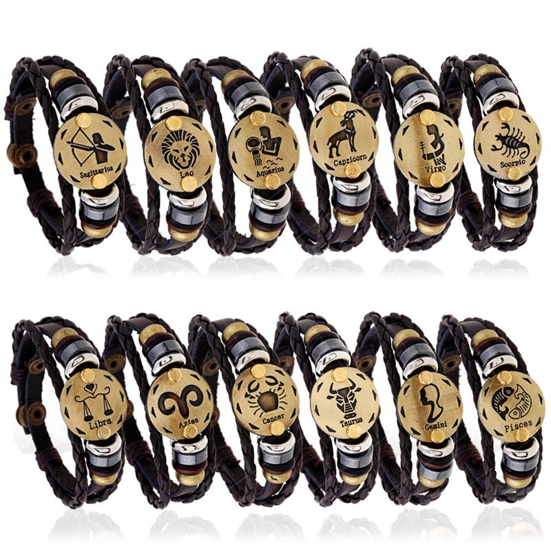 12 Constellations Men Women Braided Bracelet Cuff Leather Alloy Vintage Zodiac Signs Casual Punk Bracelets 8 TT@88