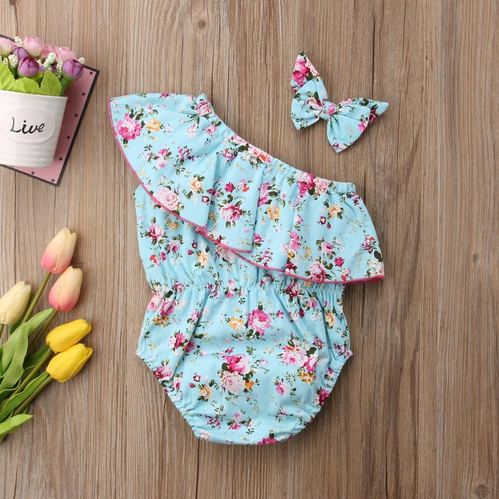 HTB1jhHLdwKTBuNkSne1q6yJoXXaq Infant Toddler Baby Girl Off Shoulder Romper +Headband Sunsuit cotton Cloth 0-24M Baby Clothing