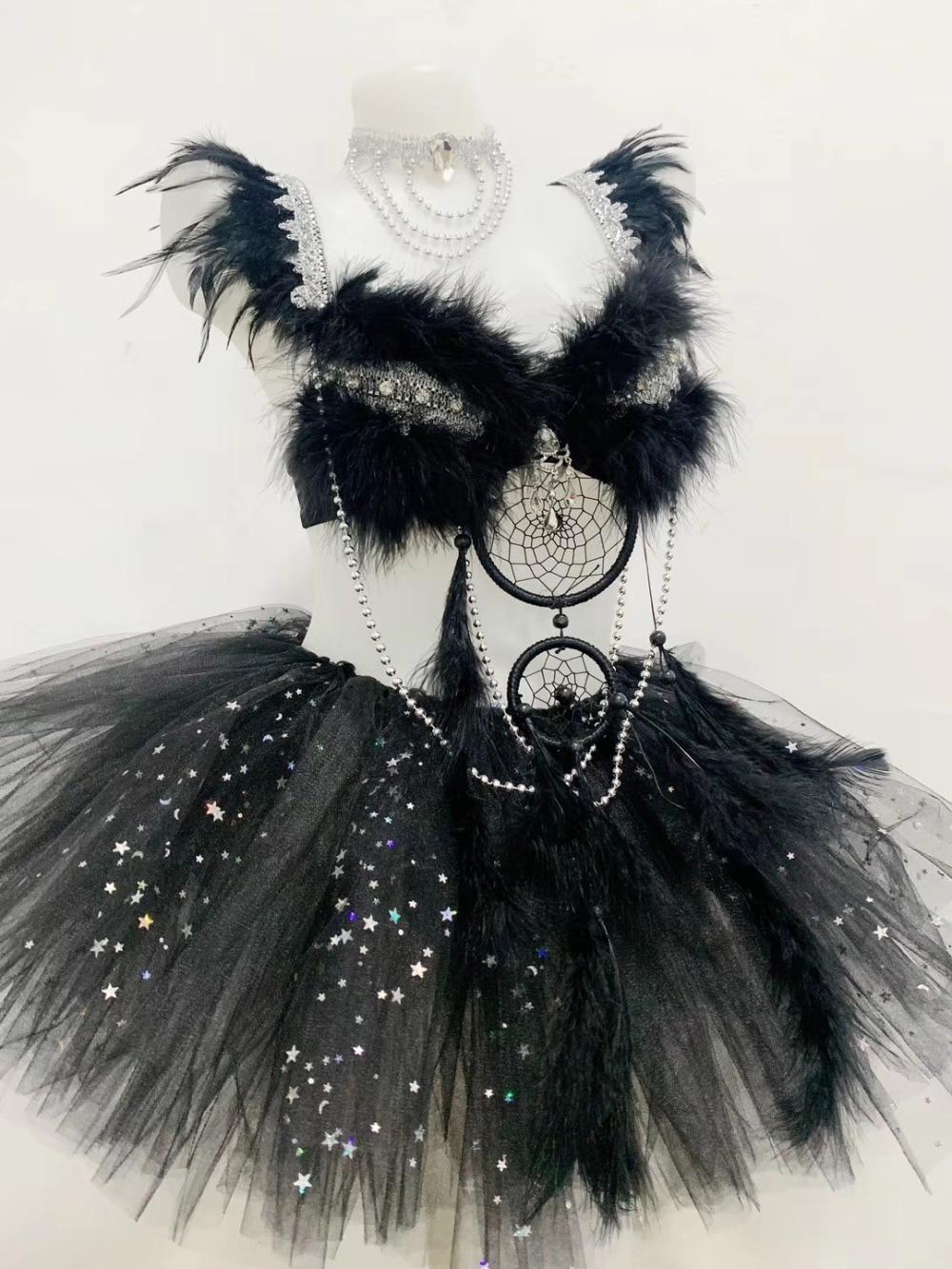 (ketting + Bikini + Rok) Zwarte Veren Kristallen Bh Sets Sexy Vrouwelijke Stadium Outfit Musical Festival Bar Party Kostuum Dans Slijtage Van Het Grootste Gemak
