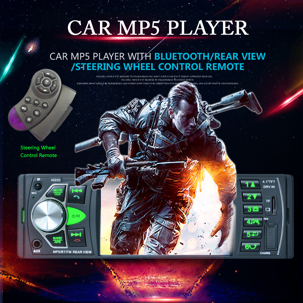 New 4.1 Inch Car MP5 Player Bluetooth TFT Screen Car Stereo Autorudio FM Station with USB SD Card AUX Rearview Image Input image