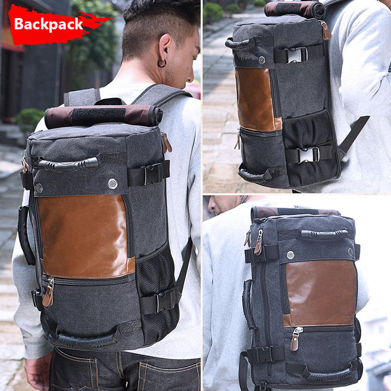 58c45eca3fbb Stylish Travel Canvas Large Backpack Male Luggage Shoulder Bag Laptop  Backpacking Functional Versatile Bags