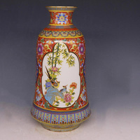 Jingdezhen Antique Enamel Vase Qing Yong Zheng With Flowers And Birds Pattern Ancient Ming and Qing Porcelain